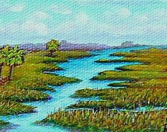 Florida marshlands, palm tree, miniatures