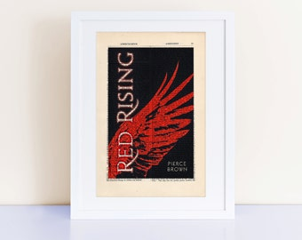 Red Rising by Pierce Brown Print on an antique page, book cover art