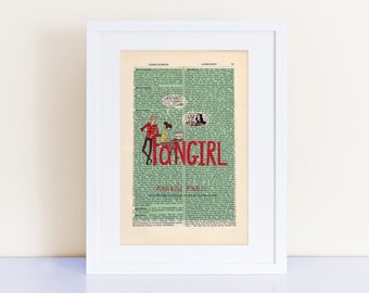 Fangirl by Rainbow Rowell Print on an antique page, book cover art