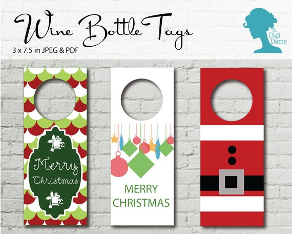 wine bottle tags printable set of three christmas bottle tags buy 2 get 1 free instant download