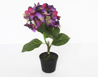 1 Artificial Hydrangea In Pot Hight Quality Supply Silk Green Purple Planter Vase Composition Home Decor Decoration Simulation Home Planter