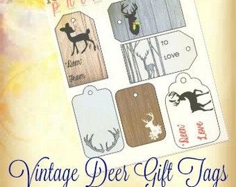 Vintage Deer Gift Tags  || PRINTABLE  || Multipurpose Stickers