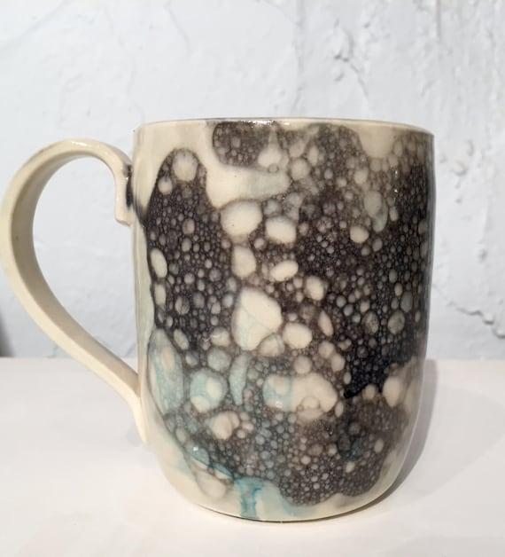 ceramic mug - white with bubble design - coffee cups - half price!
