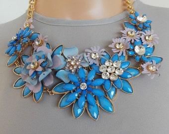Cornflower Blue Floral Statement Necklace