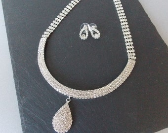 Silver Crystal Necklace and Earrings Bridal Prom Set