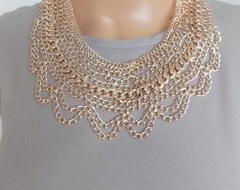 Rose Gold Multi-Chain Statement Necklace
