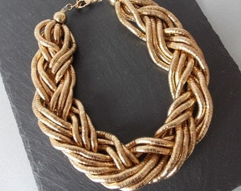 Chunky Gold Plait Statement Necklace
