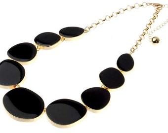Black Enamel Disc Statement necklace -UK SELLER