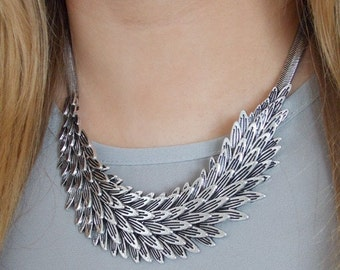 Silver Metal Feather Statement Necklace