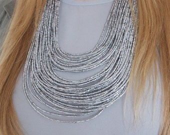 Silver Beaded Multi-Strand Statement Necklace -UK SELLER