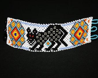 Cool Beaded Bracelet, Tribal Native Jewelry, Huichol Bracelet, Native American Jaguar Bracelet, Peyote Bracelet, Tribal Bracelet, Beadwork