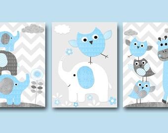 Blue Grey Baby Boy Wall Decor Digital Nursery Giraffe Elephant Nursery Digital Print Printable Art Instant Download Art set of 3 8x10 11X14