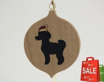 Poodle art, Christmas Ornament, Marquetry, Wood inlay, Silhouette