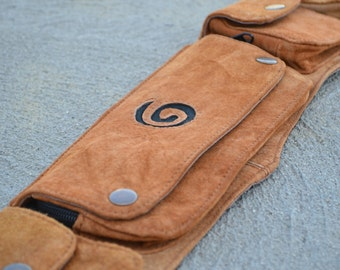 Suede festival utility belt with spiral detail and 5 pockets