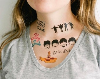 6 Beatles Temporary Tattoos- GeekTat