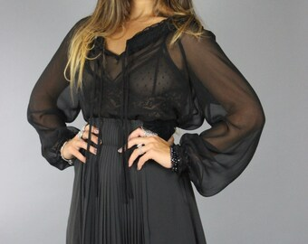 Black Chiffon  Top/ Boho Hippie  Chic Black Peasant style / Black  Top Shirt/  Medium