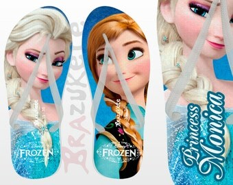 Personalized Frozen Anna Elsa Disney Print Flip Flop Sandals Women Shoe Brazilian Birthday Favors