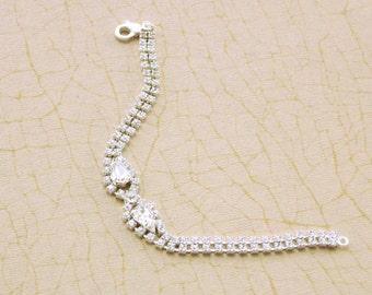 Clear Crystal Bridesmaid Bracelet, Silver Bracelet,Diamante Bracelet, Bridesmaid Gift,Under 15 dollars, Crystal Bracelet, Prom Bracelet