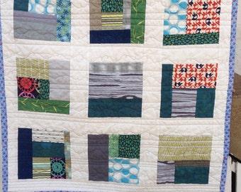 Modern Nine-Patch Baby Quilt