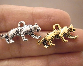 1 Piece Gold Silver Tiger (3D) Charm Pendant Jewelry Craft DIY With Jump Rings CS119