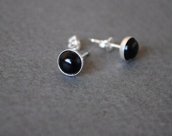 Black stud earring. Gemstone earrings. Black Onyx earrings. Small studs. Black Jewelry. Simple tiny Black stud. Christmas. black Friday