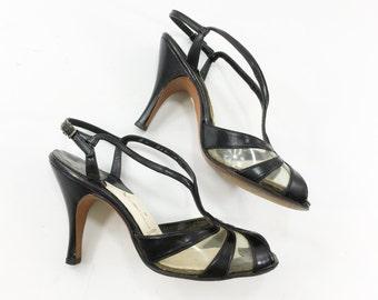 50s Size 6 Black Strappy Heels   Plastic & Leather T-Strap Heels   Kimel California