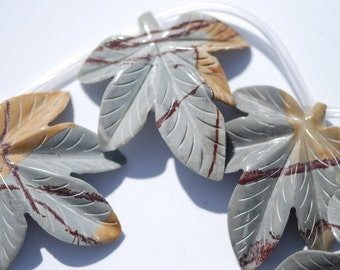 One piece hand carved picture jasper maple leaf focal bead, Gray, Tan, Brown, approximately 48 x 49 mm