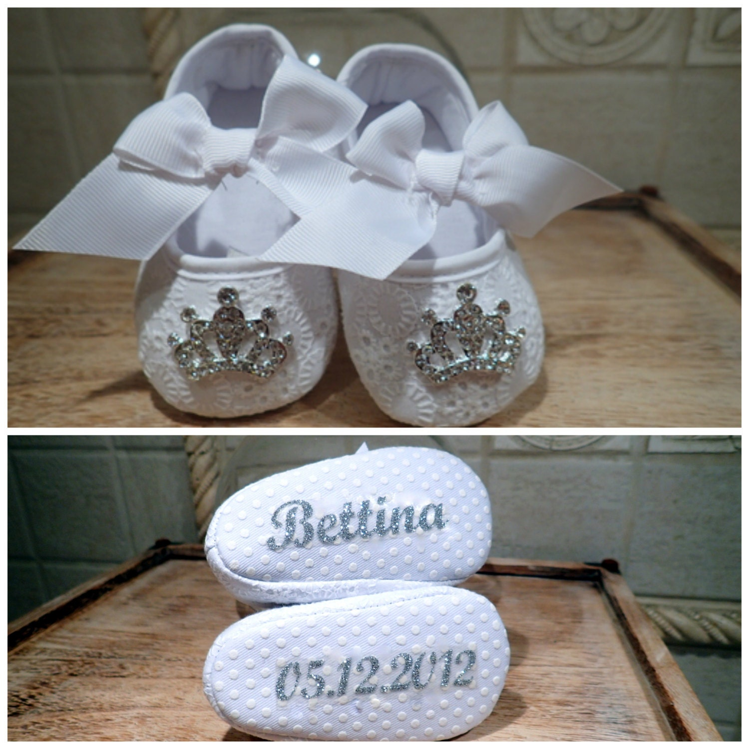 Personalized Christening Shoes Baby Bling Shoe White with