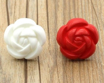 6 pcs White Rose Button Sweater Button Fashion Overcoat Button Wind Coat -11mm~37mm(0.43-1.46inch),P123