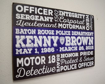 Policeman Sign, Custom Police Officer Words, Police Subway Art, Police Sign, Law Enforcement Sign, Police Retirement, Herosigns