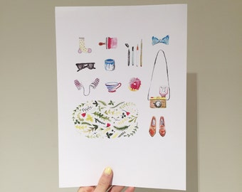Watercolour objects A4