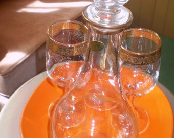 CELLINI Italian Crystal Decanter w/ 3 Stemmed Glasses 24KGold Engraved