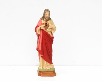 French Religious Statue, Jesus,Sacre Coeur,hand made,religious decor