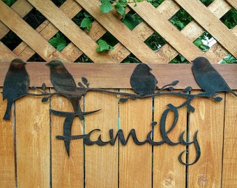 Stained Steel Family Sign with Birds