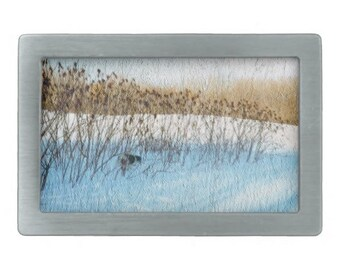 Men's rectangular belt buckle with color photo of spaniel in a snow covered field