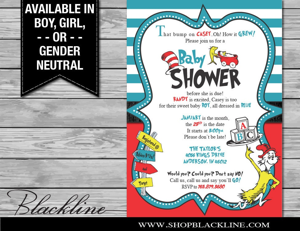 printed dr. seuss baby shower invitations by blacklinedesignllc, Baby shower