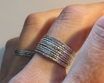 10 Super Thin Silver Ring, Hammered Silver Rings, 925 Sterling Silver Rings, Dainty Rings, Super Thin Stacking Rings, Simple Rings