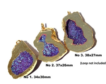 1 Pc 24Kt Gold Electroplated Purple Druzy Agate Geode Pendant 34-38 mm Druzy Single Bail Cave Pendant EPC04  You Select