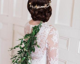 Bridal headpiece, gold headpiece, wedding, pearl , crystal ,rhinestone, gold leaf