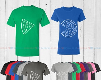 The Missing Piece Pizza & Slice - Matching Couple Shirts - His and Her T-Shirts - Love Tees