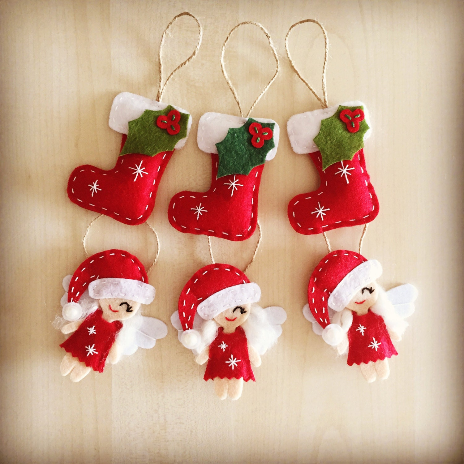 Christmas Decor. Set Of 6 Christmas Ornaments. Handmade Felt