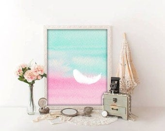 Feather digital art printable