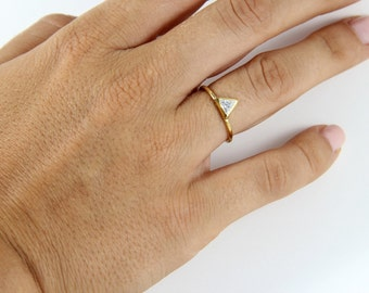 Triangle Engagement Ring with Trillion Cut Swarovski -Triangle Ring - Solitaire Ring - Engagement Ring - Rose Gold Filled Ring - 14K Filled