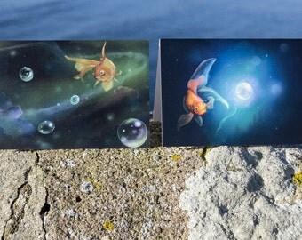 Goldfish Illustration Greetings Card Twin Pack