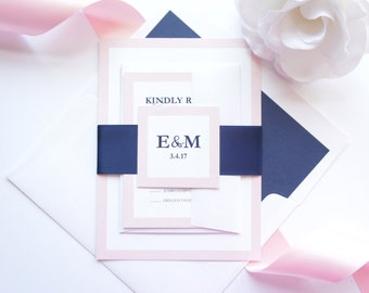 Wedding Invitation, Light Pink and Navy Wedding Invitation, Invitation Sets, Modern Wedding Invitation, Wedding Invites - SAMPLE SET