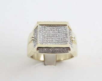 10k Yellow Gold Men's Diamond Ring Size 11.25 1.00 carat