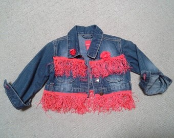 SALE 20%OFF baby girl denim jacket, blue denim jacket, birthday party, cowgirl boho, red fringing, infant 1 2 year old, photo shoot