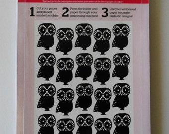 Owl Embossing Folder, 5 x 7 Embossing Folder, Craft Concepts Hoot Hoot Embossing Folder, 5 x 7 Owl Embossing Folder