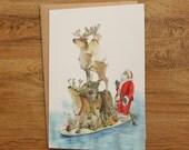 Hand Drawn Christmas Card: Santa in Summer Paddle Boarding!