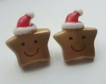 Christmas earrings, Christmas studs, festive studs, holiday studs, studs, festive earrings, star earrings